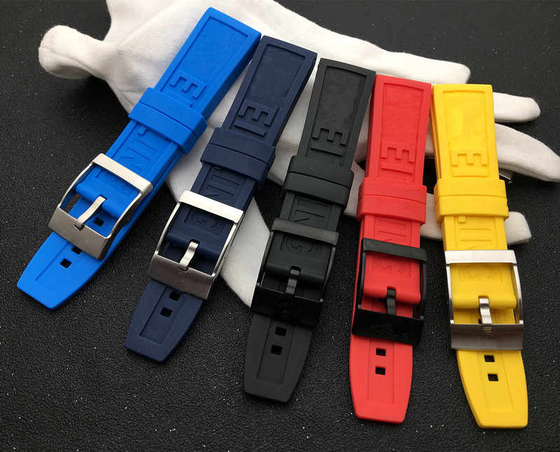 Nature Rubber silicone Watch band 22mm 24mm Black Red Blue Yellow Watchband For navitimer/avenger/Breitling strap logo on tools