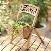 Creative personality American country wooden flower pot indoor multi meat flower Ware