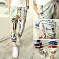 men linen pants 2016 new male button wood bead decoration harem pants casual pants linen pants