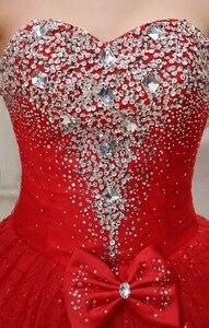 Image 5 - リアルフォトカスタマイズ 2020 韓国スタイル甘いロマンチックな古典的なレース赤王女のウェディングドレスストラップレスマリアージュのウェディングドレス