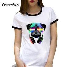 Music Love Pug Summer Women Short Sleeve Fashion Casual Tops Cute dog vogue 90s aesthetic punk rock tee tops best friends tshirt