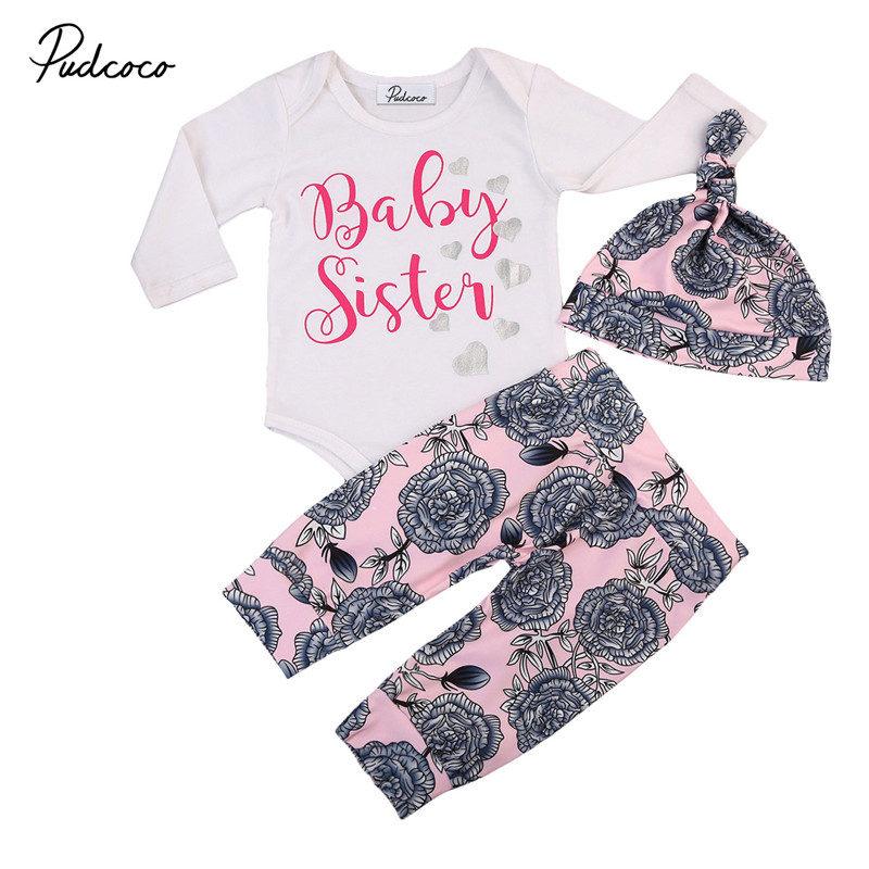 0 to 24M Newborn Kids Baby Girls Clothes Floral Long Sleeve Tops Romper +Long Pants+ Hat 3pcs Outfits Baby Clothing Set