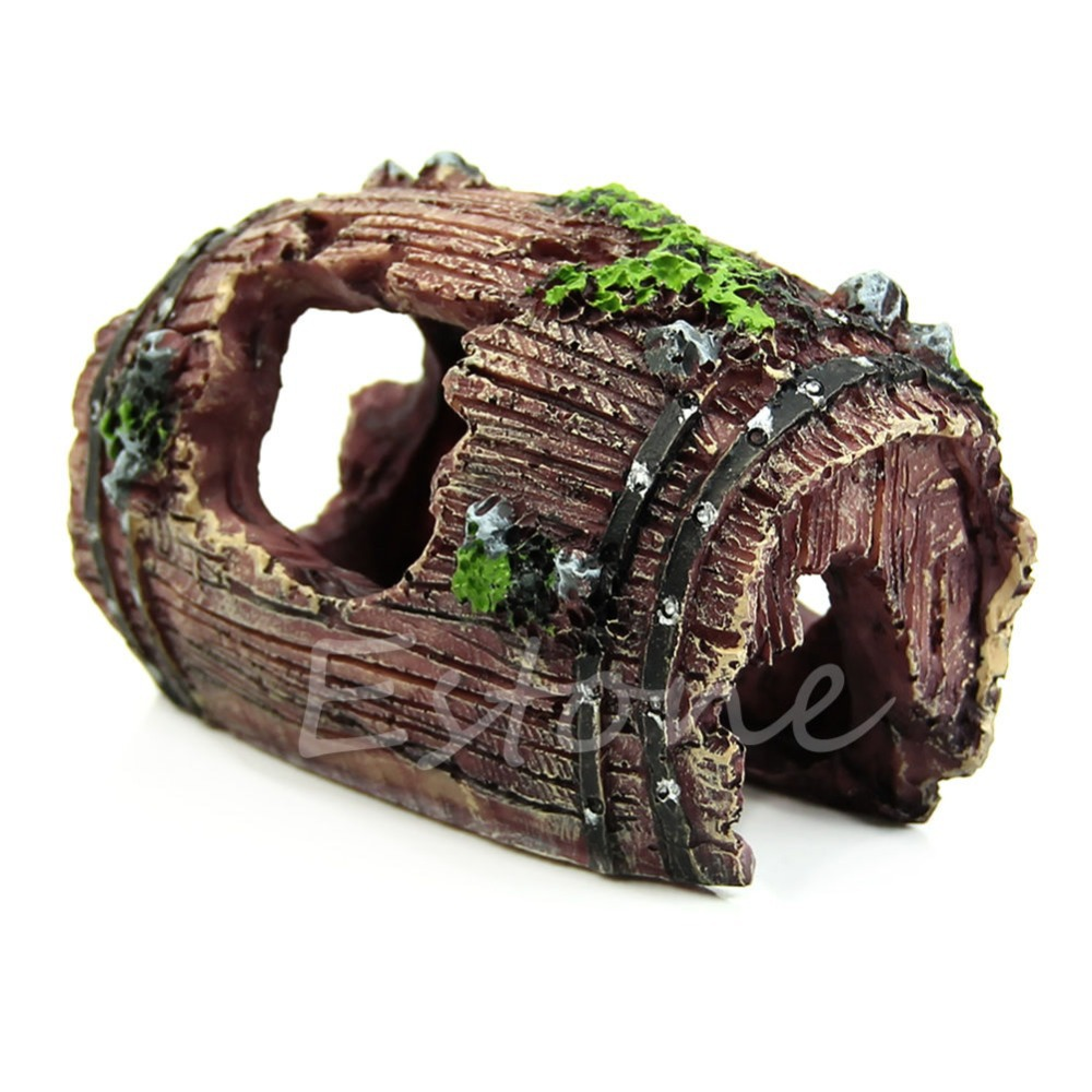 Free shipping Aquarium Fish Tank Artificial Barrel Resin Ornament Cave Landscaping Decoration