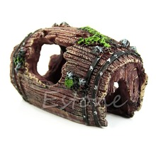 Landscaping cave ornament resin barrel aquarium tank fish artificial decoration shipping