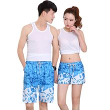 Fashion Men Women Summer Beach Holiday Couple Shorts Suit Wear Printed Causal Tracksuit Casual Unisex Shorts H7(China)