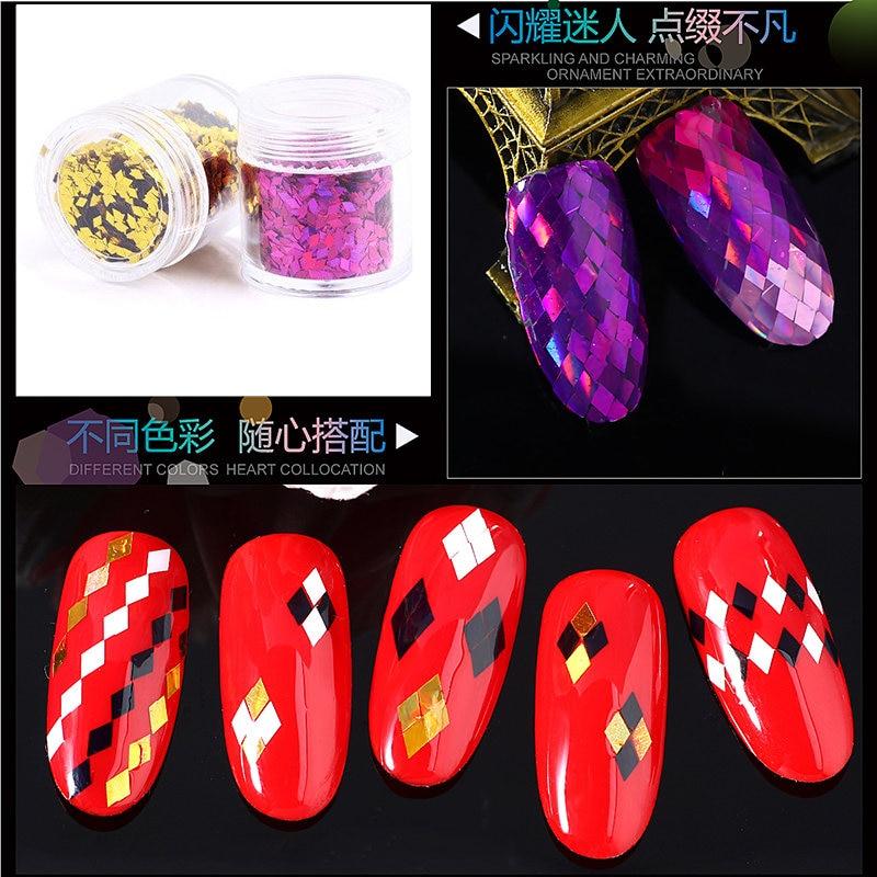 topkwaliteit 1 fles 3D nail art Glitter Pailletten ultradunne Rhombus - Nagel kunst - Foto 4