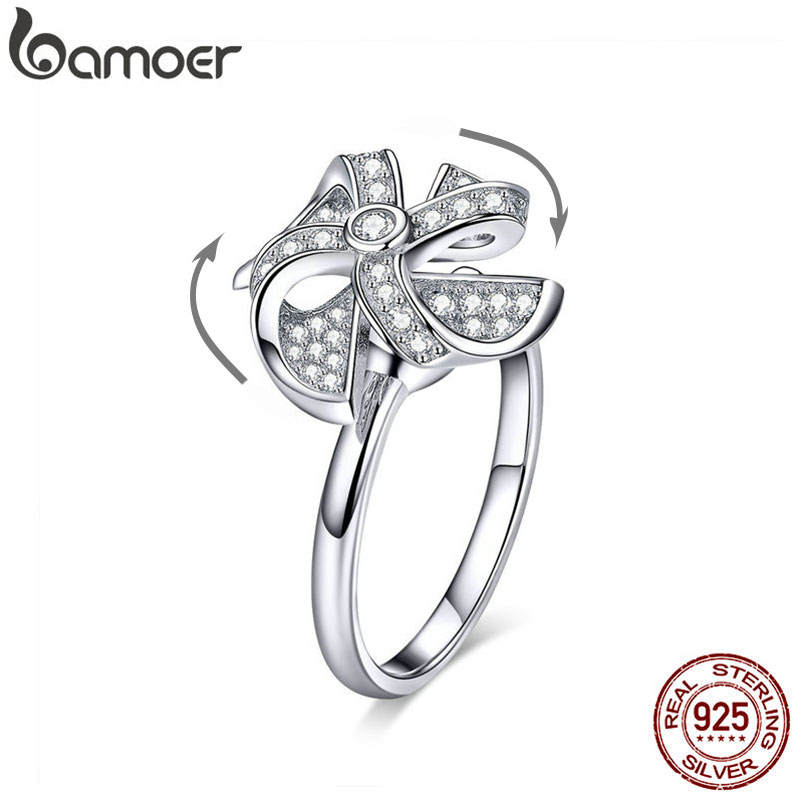 BAMOER Rotating Windmill Ring Real Silver Moved Open Adjustable Finger Rings For Women Sterling Silver 925 Jewelry BSR032