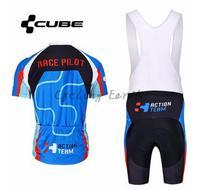 High Quality Cube 2015 3 Blue Short Sleeve Cycling Jersey Bib Shorts Shirt Set Clothes Jersey