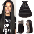 360 Lace Frontal With Bundle 8A Brazilian Straight 360 Frontal With Bundles Top 360 Lace Frontal Closure With Bundles Human Hair