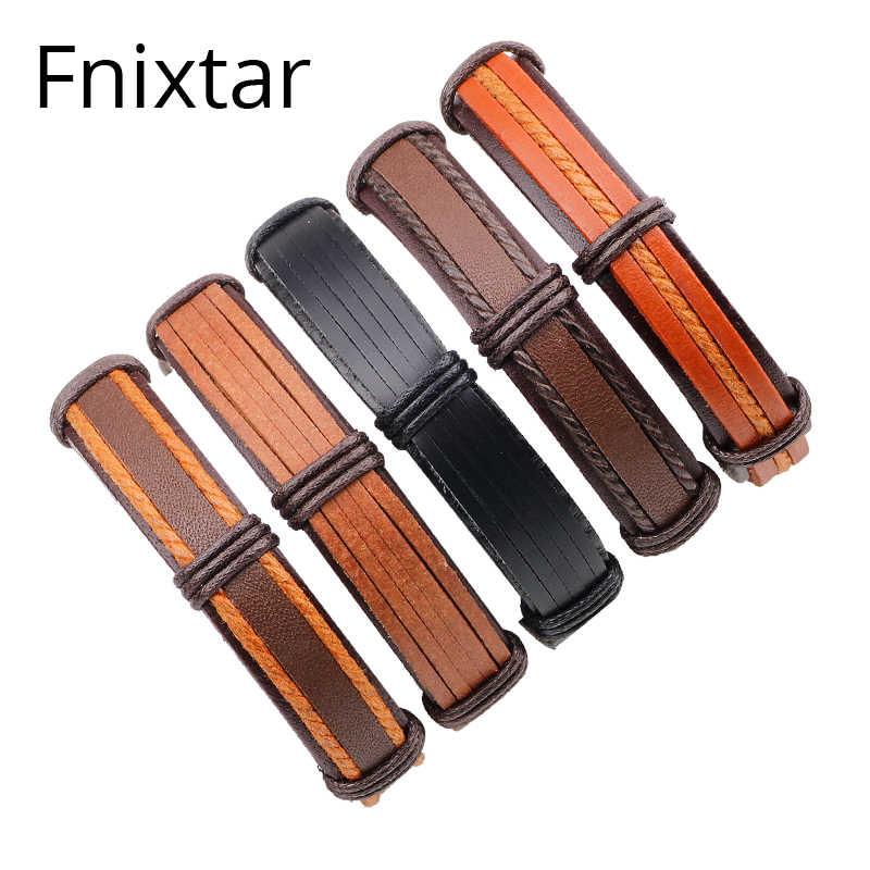 Fnixtar prawdziwej skóry mężczyzn bransoletki moda 2018 bransoletki i Bangles mężczyzn skórzane bransoletki urodziny prezent na dzień 5 sztuk/zestaw