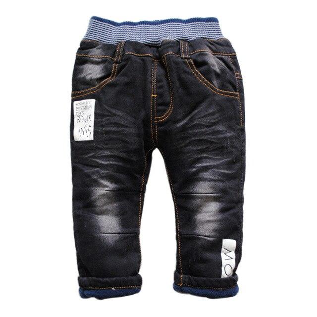 6228 зима РЕБЕНОК мальчик джинсы джинсовая + флис добавить теплые двухэтажных черные брюки дети повседневная зимние брюки