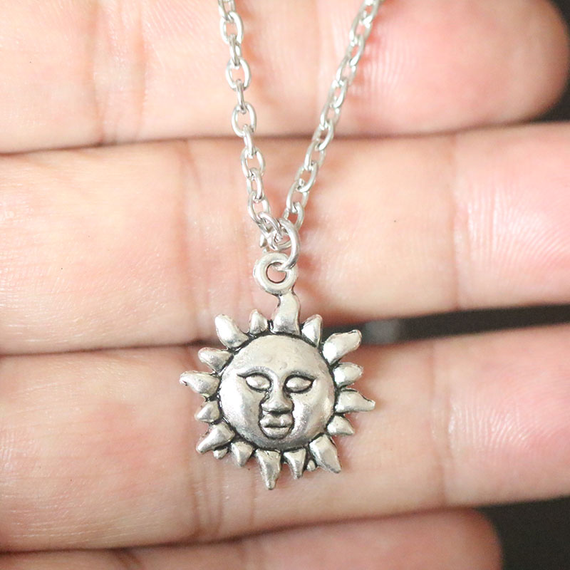 Sun Moon Pendant Necklaces Celestial Friendship Couple Necklaces BF GF Charms Chain Silver Necklaces in Pendant Necklaces from Jewelry Accessories