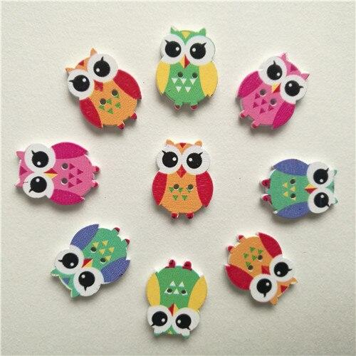 50 шт смешанные животные 2 отверстия деревянные пуговицы для скрапбукинга поделки DIY Детские аксессуары для шитья одежды пуговицы украшения - Цвет: owl