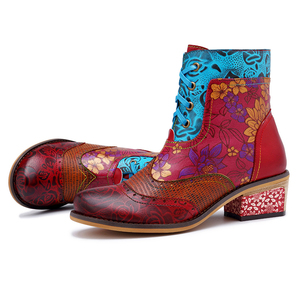 Image 2 - BuonoScarpe Retro Women Zipper Ankle Boots Winter Patchwork Flowers Printed Shoes Vintage Chunky Heel Casual Boots Ethnic Botas