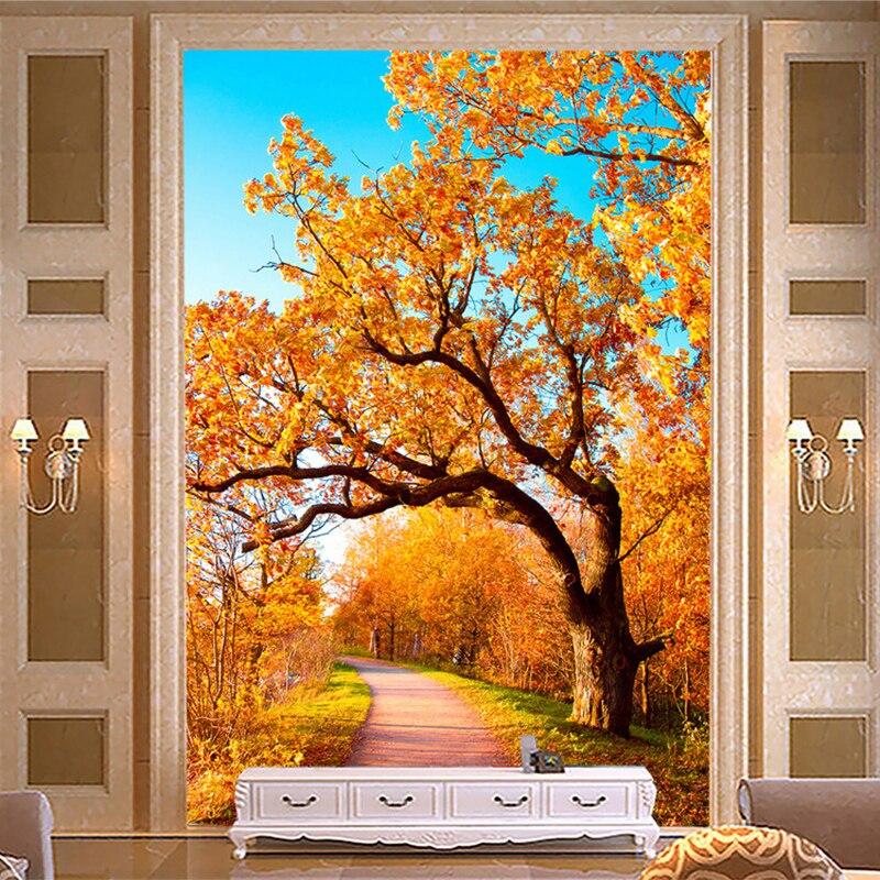 3D обои современный простой золотой осенний лес фотообои гостиная отель вход фон Настенный декор Papel де Parede