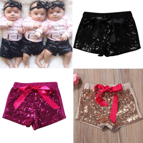 Toddler Kids Baby Girl Bowknot Sparkle Party Shorts Sequin Pants Summer 6M-5Y