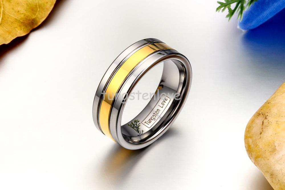 Yüksək keyfiyyətli gümüşü qızıl volfram karbid üzüklər - Moda zərgərlik - Fotoqrafiya 3