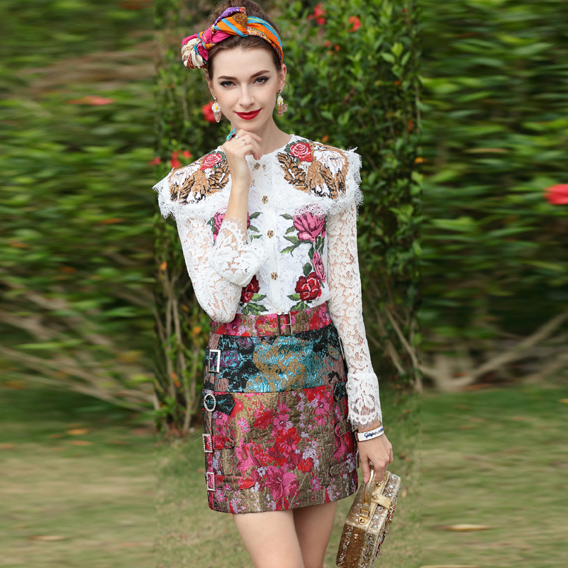 2019 neue Designer Runway High Street Fashion Anzug sets frauen Langarm Bestickt Spitze Top + Vintage Jacquard Mini rock Set-in Damen-Sets aus Damenbekleidung bei  Gruppe 1
