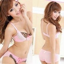 Sexy V-neck women Underwear Lace Edge Leopard Print Underwear Push Up Bra Set H34