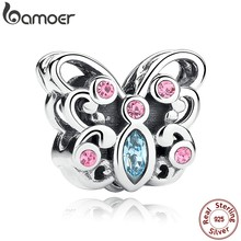 BAMOER 925 Sterling Silver Butterfly Animals Charms fit Bracelets & Necklace for Women Engagement Accessories SCC003(China)