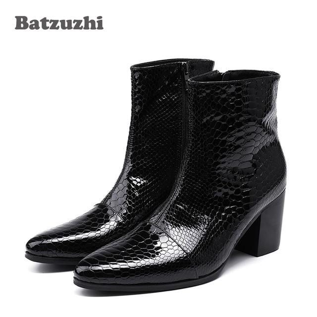 Batzuzhi 7CM High Heels Men Boots