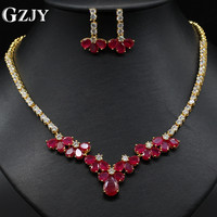 GZJY Luxury Rose Gold Color Flower Jewelry for Women Engagement Red CZ with AAA Cubic Zircon For Brides