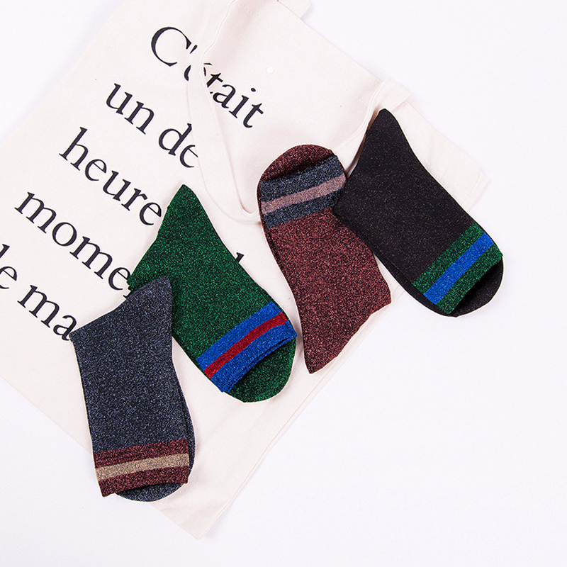 Sp&City Summer Striped Patterned Shiny Women Socks Girls Harajuku Thin Breathable Short Socks Art Funny Cool Female Socks