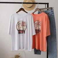 986c91c12 Harajuku Loose Casual Plus Size Tee Shirt Femme Vintage Streetwear Summer  Korean Style Boyfriend Kawaii Funny