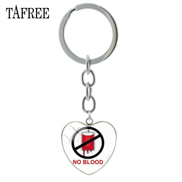 "TAFREE Brand ""No Blood "" Heart Shape Charms Keychain Jehovah's Witnesses Key Chain Ring Holder Jewelry Bag Key Pendant QF97"