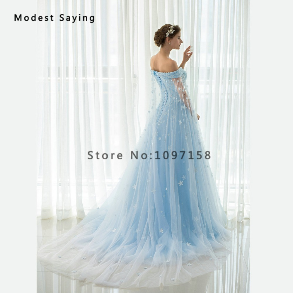 Princess Sky Blue Beaded Lace Flowers Evening Dresses 2017 with ...
