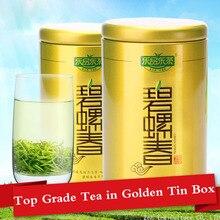 2 Pcs x 125g Top Grade Biluochun 2016 Chá Fresco Prémio 250g Torrado Chá Verde Biluochun Mingqian Orgânica Prodcut Lata Dourada caixa(China (Mainland))