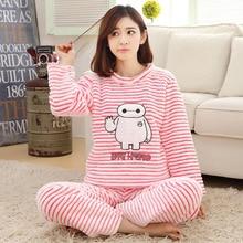 2016 Warm Long-sleeve Autumn And Winter Coral Fleece Sleepwear Winter Lovely Sleepwear Flannel Lounge Sleep Set Pajamas Set