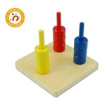 เด็ก Montessori ของเล่นไม้แผ่นสี 3 สี Dowels ก่อนวัยเรียน