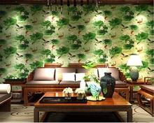 beibehang papel de parede wallpaper Fashion high classical beauty pond landscape retro study room green lotus nonwoven