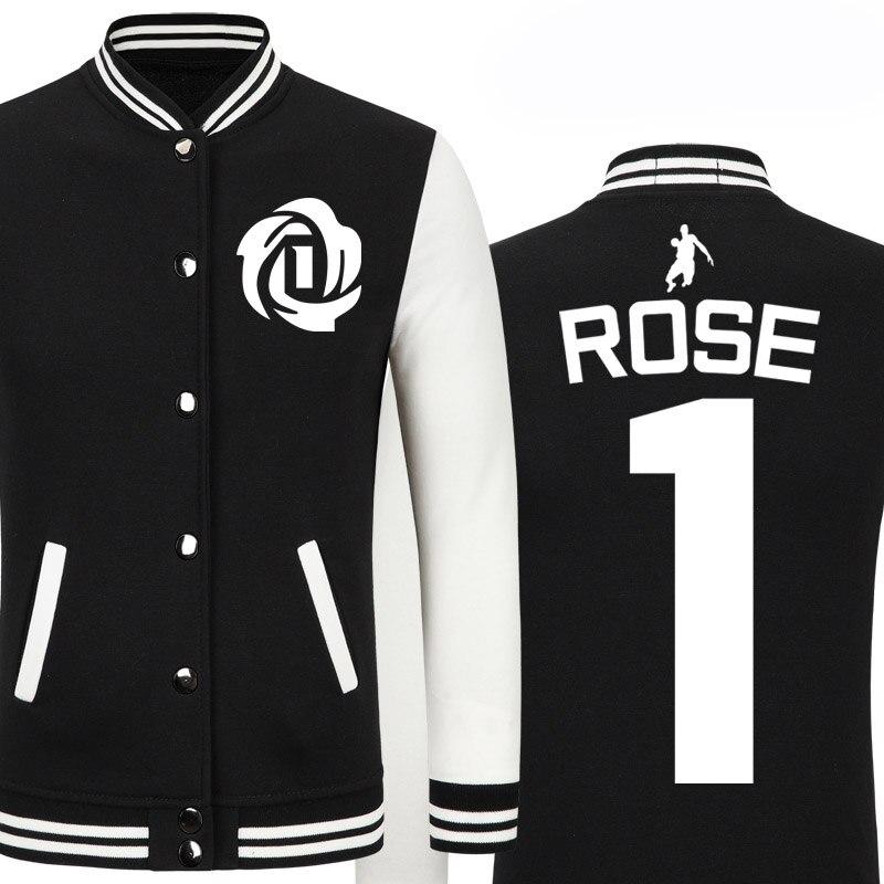 Sweatshirt Men Basketball Player  1 Derrick Rose Brand Zipper Baseball  Jackets School Style Asian Size 70% Cotten Material cb6aff166e1d