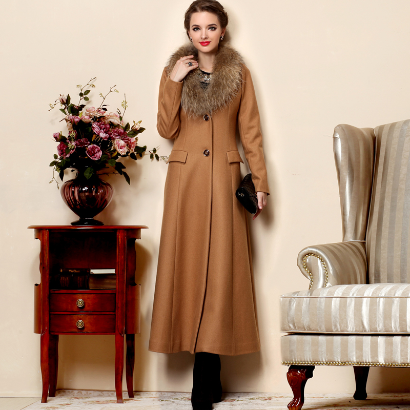 2017 New winter luxury large fur collar wool coat women's fur ...