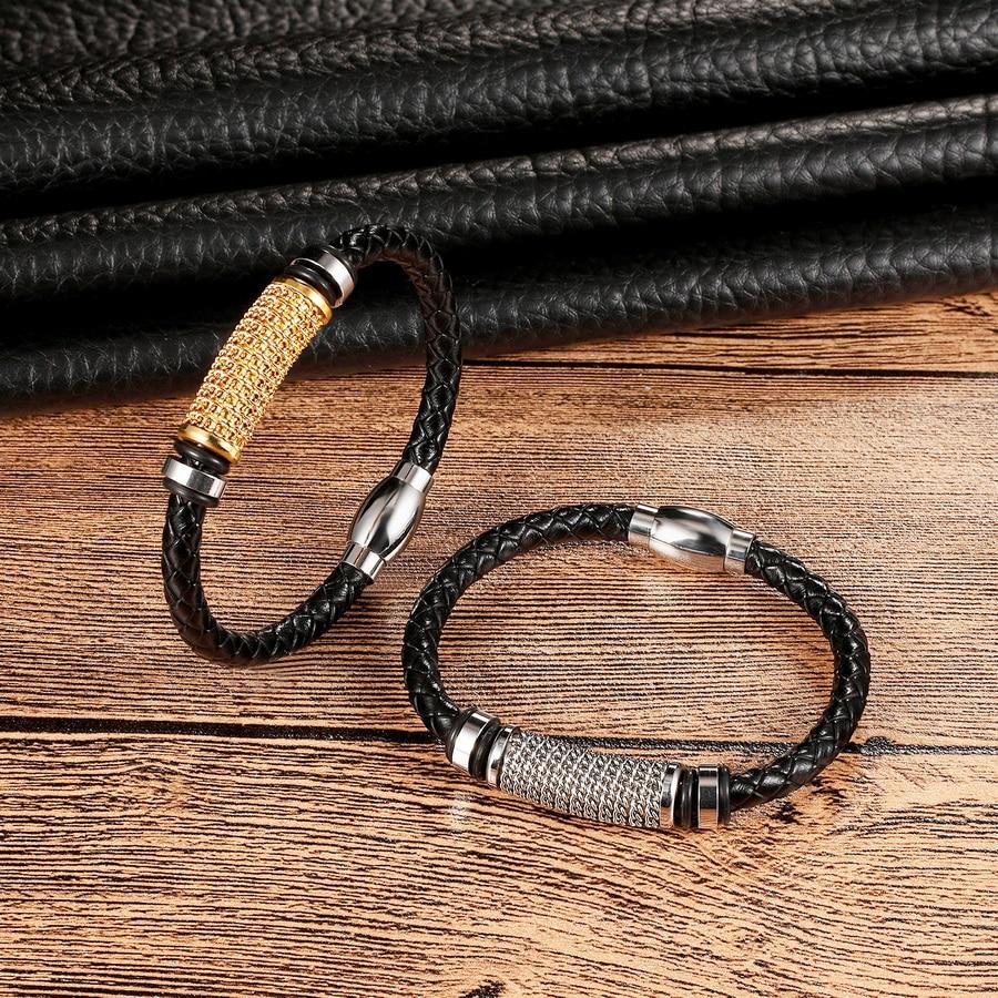 XQNI Genuine Leather Bracelet Gold/Steel/Black Color Chain Winding Stainless Steel Superior Charm Punk Bracelet For Men Gift