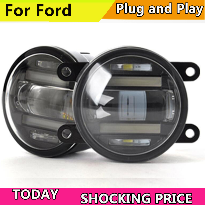 Car Styling Fog Lamp for Ford Ranger Falcon Transit Mustang LED Fog Light LED DRL 2 function model Fog Lamp with DRL система освещения for all car 2 7w 18 led drl