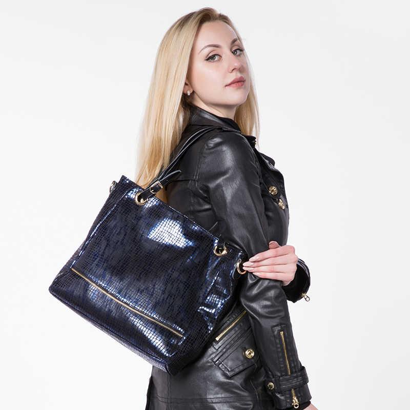 Realer Tote Tas untuk Wanita Fashion Zipper Kulit Tas Tangan Tas Selempang Wanita Cetakan Hewan Buatan Kulit Tas Bahu