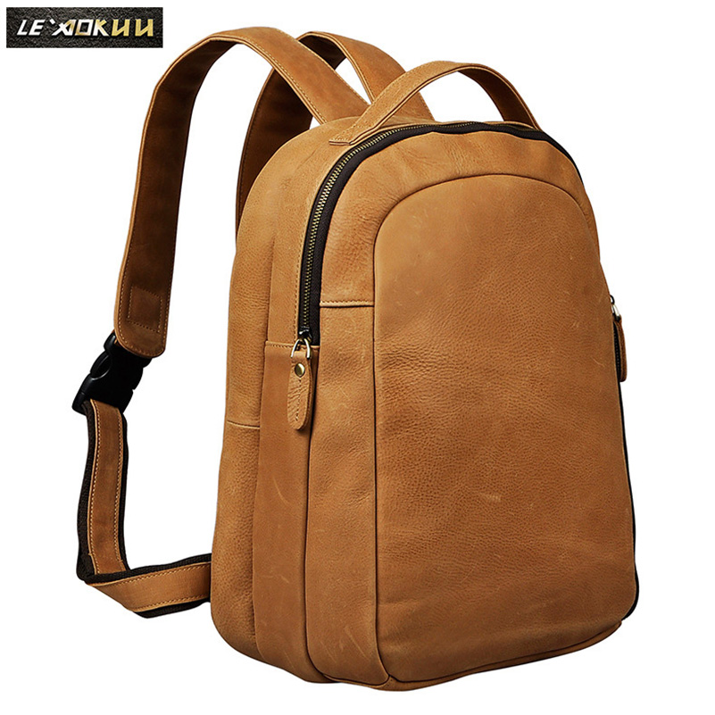 Men Real Leather Designer Casual Travel Bag Fashion University School Student Book Laptop Bag Male Backpack