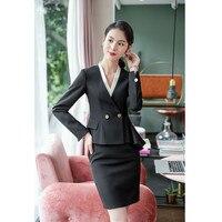 Women's skirt suit women's fashion slim double breasted suit two piece suit (jacket + skirt) women's business wear