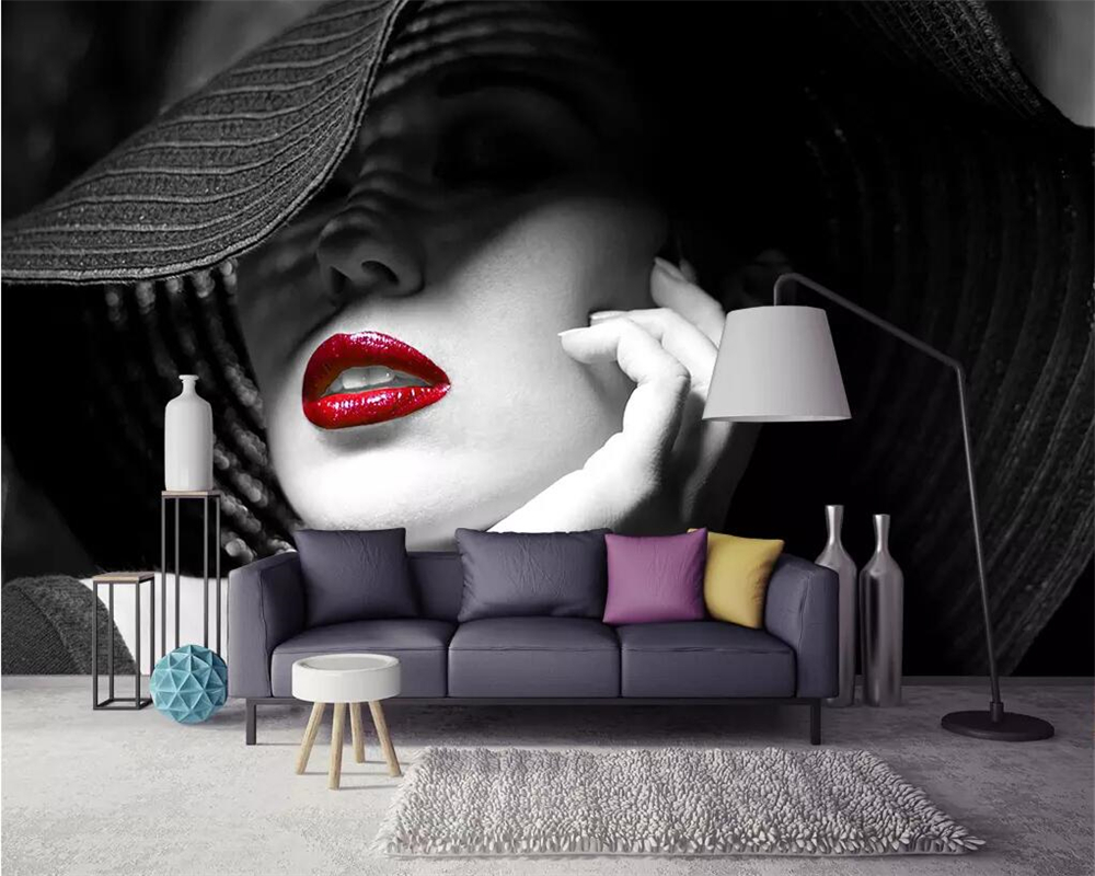Beibehang Custom Wallpaper Black And White Contrast Color Red Lips Modern Minimalist Fashion TV Sofa Background 3d Wallpaper