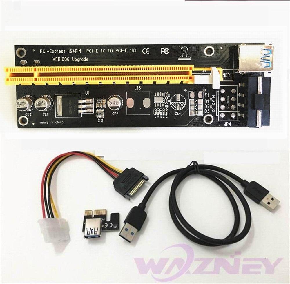 bilder für PCI-E PCI Express E 1x zu 16x grafikkarte Riser-karten-adapter USB 3.0 Kabel SATA auf 4Pin IDE Molex Stromversorgung Für BTC Miner
