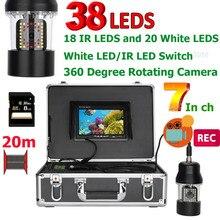 7-дюймовый DVR Регистраторы 20 m подводная охота видео Камера Рыболокаторы IP68 Водонепроницаемый 38 светодиодов 360 градусов вращающийся Камера