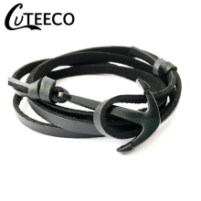 CUTEECO Dropshipping Fashion Black Color Navy Anchor Bracelets Men Charm Pirate PU Leather Bracelet Male Jewelry