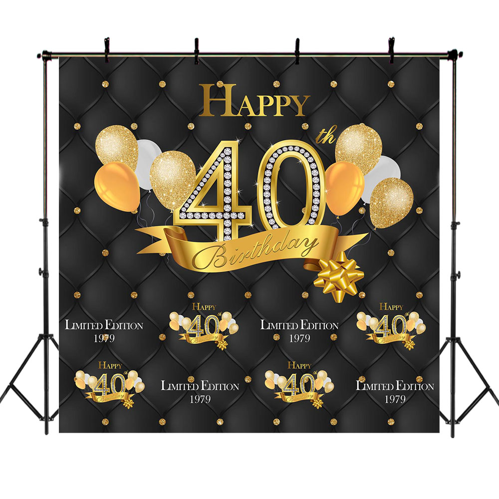 NeoBack Gold Black 40th Birthday Backdrop Balloon Happy Photography Background Party Banner Backdrops