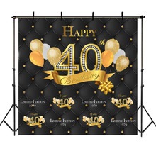 NeoBack Gold Black 40th Birthday Backdrop Balloon Happy Birthday Photography Background 40th Birthday Party Banner Backdrops circus happy birthday backdrop clorful balloon flag photography background kids child birthday party dessert table decorate prop