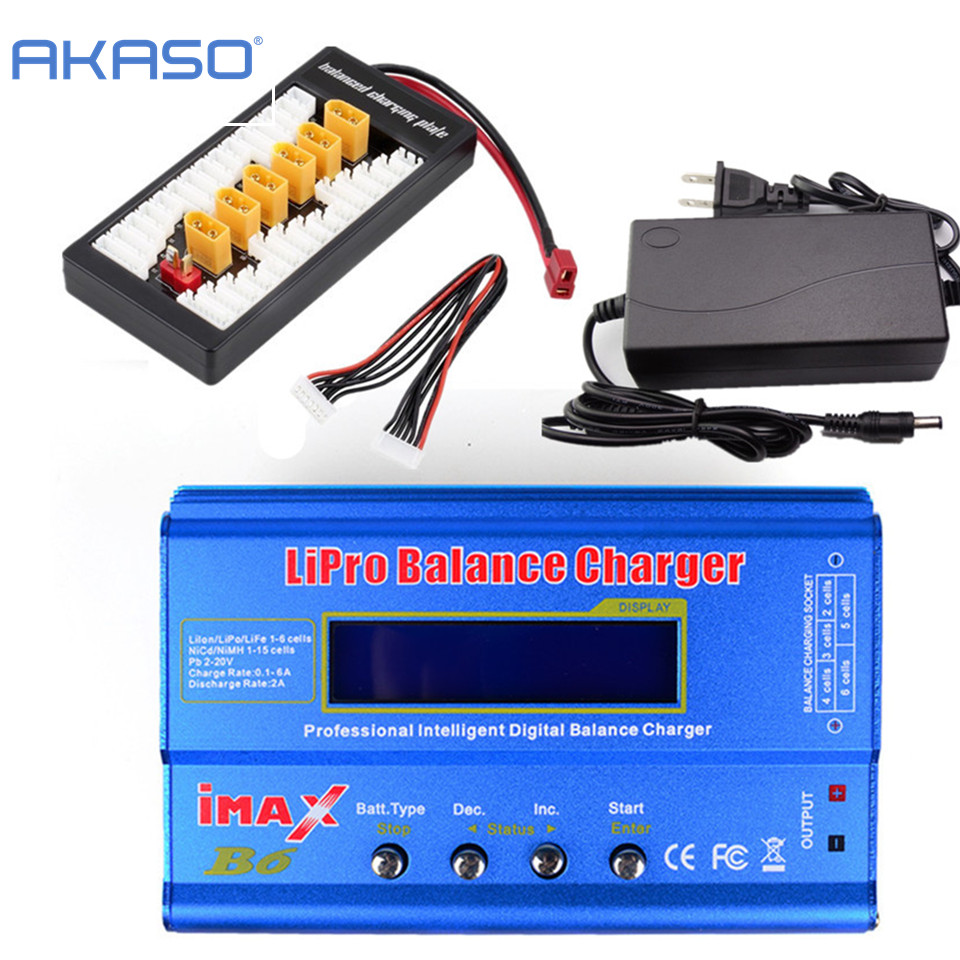 AKASO  iMAX B6 LCD Screen Digital RC Lipo NiMh Battery Balance Charger + XT60 / T Plug Adaptor Board 2-6S + 12v 6A Power Adapter