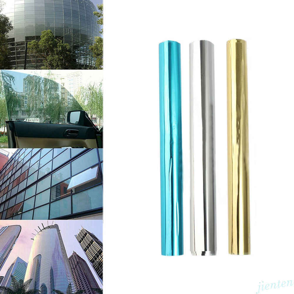 One Way Mirrored Window Film Solar Reflective Anti-UV Glass Sticker Silver Layer Tint Room Building Decor Wall Decal