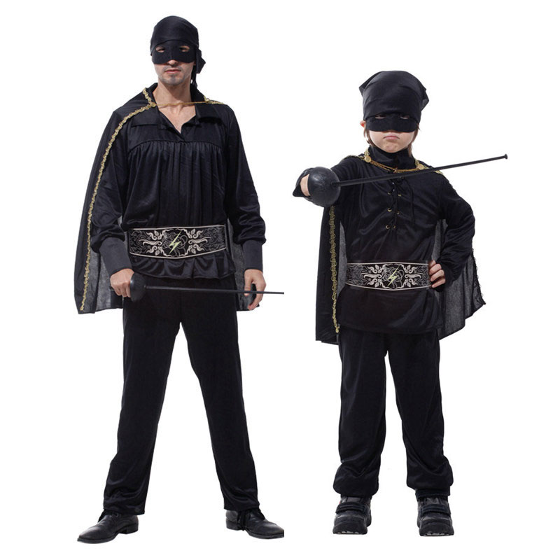 Umorden Purim Party Carnival Halloween Black Masked Super Hero Costumes Father and Son Family Matching Costume for Men Boys Kids